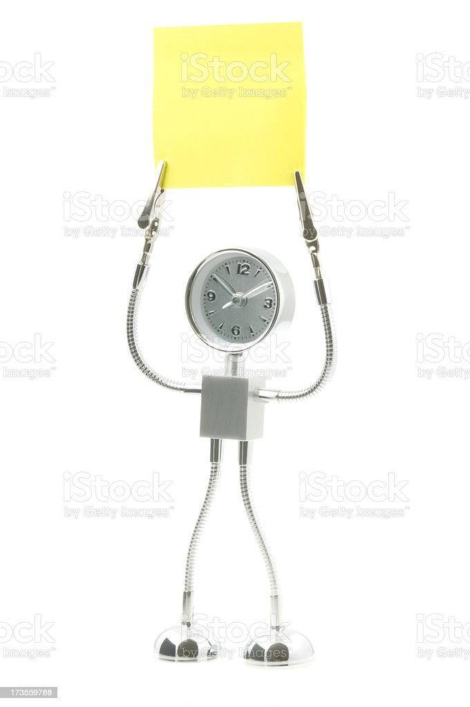 Robotic Clock and Notepaper stock photo