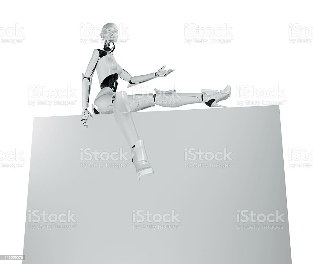 Robotic girl's sexy presentation royalty-free stock photo