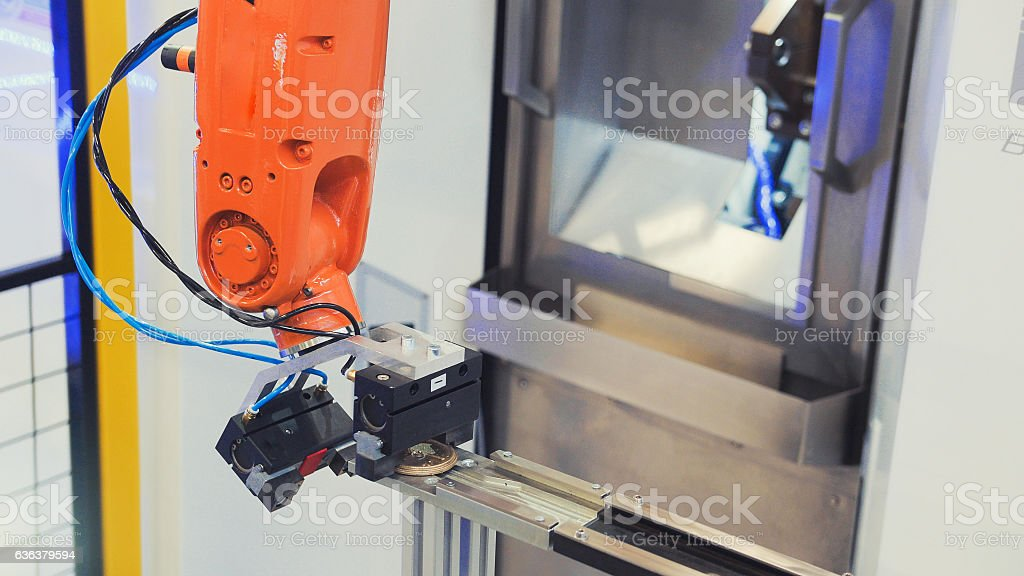 Robotic hand machine tool at industrial manufacture factory stock photo