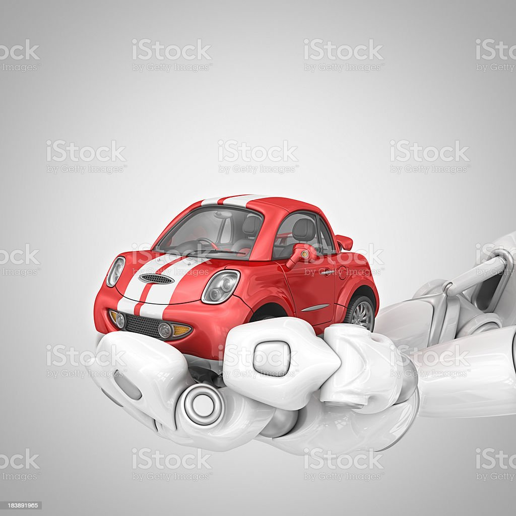 robotic hands holding sport car royalty-free stock photo