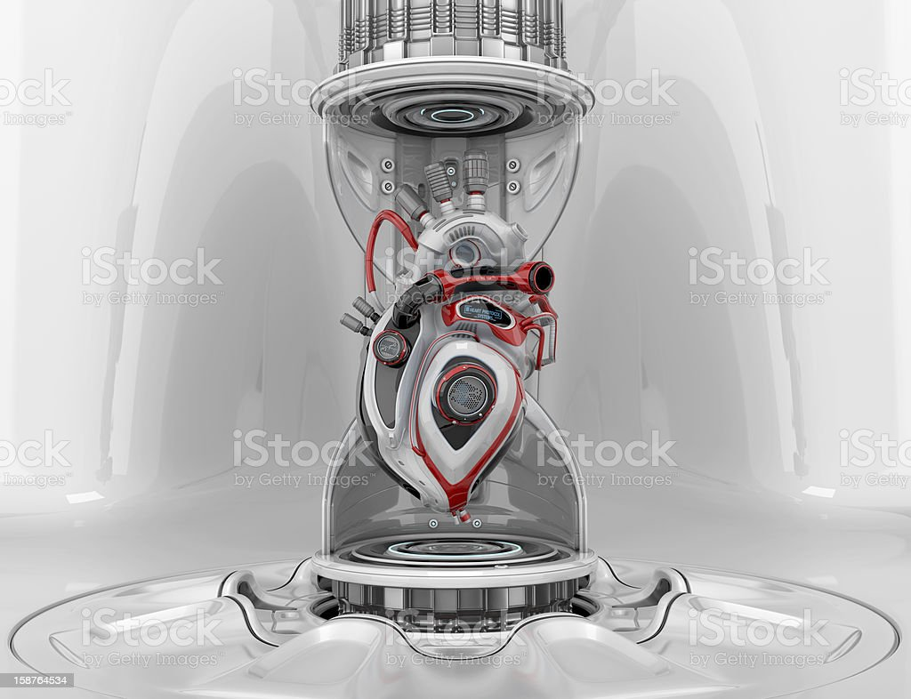 Robotic heart in hourglass royalty-free stock photo