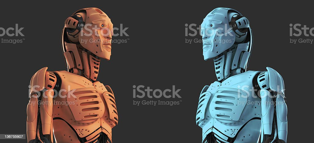 Robotic men with fish attributes royalty-free stock photo