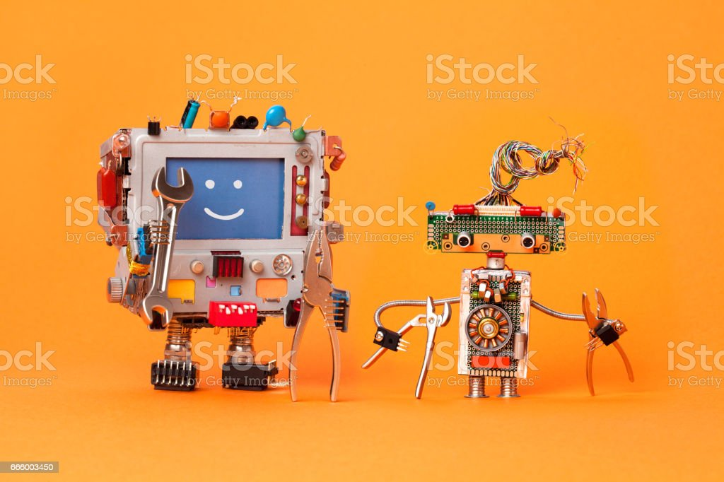 Robots friends ready for service repair. Funny robotic characters...