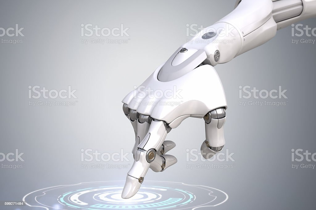 Robot's hand is pushing the button stock photo