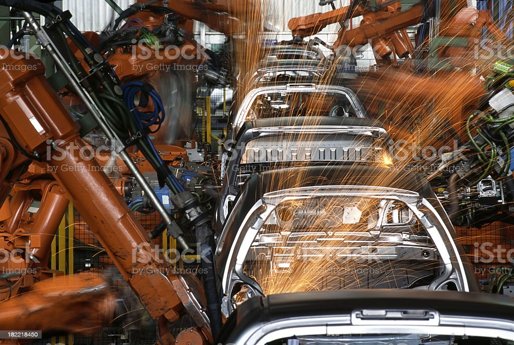 Robots In a Car Factory royalty-free stock photo