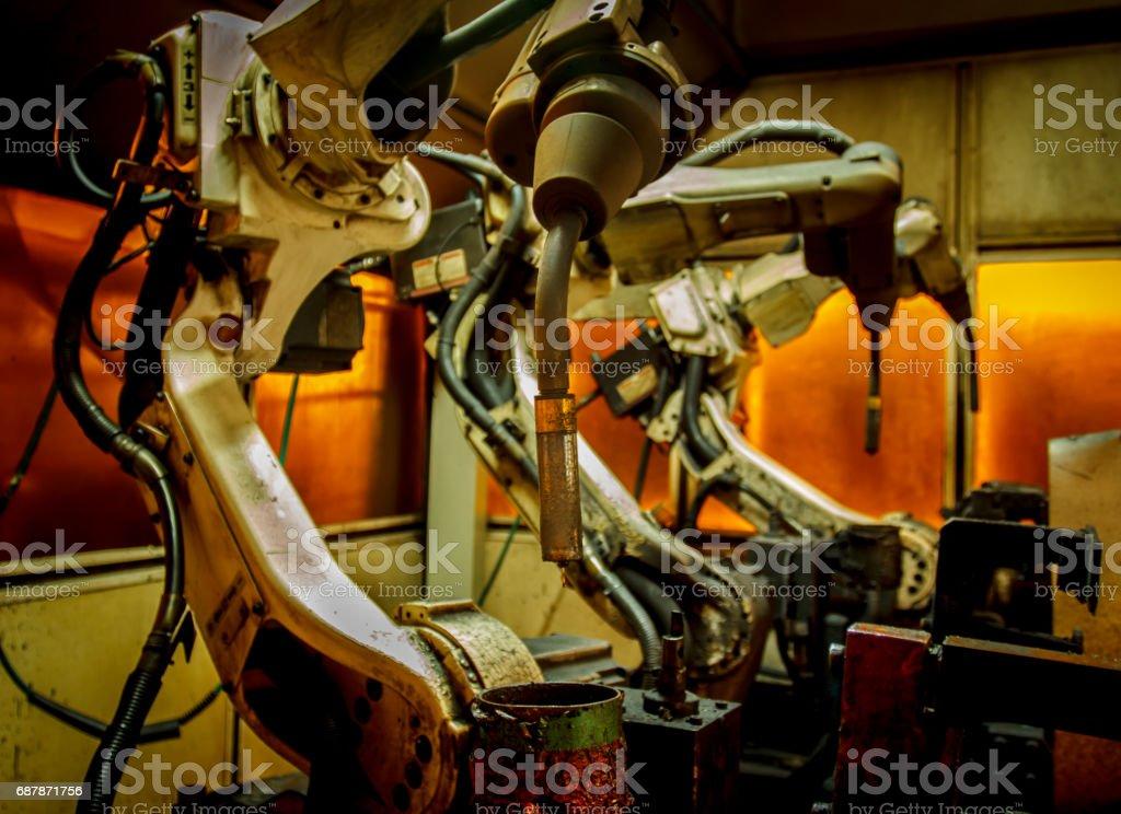 Robots welding team stock photo