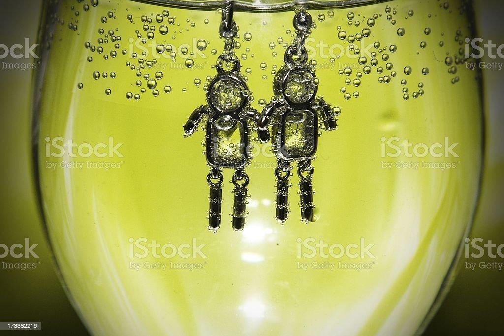 Roboty w wodzie royalty-free stock photo