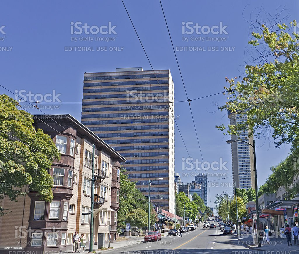 Robson Street with Stores and Restaurants in Vancouver royalty-free stock photo