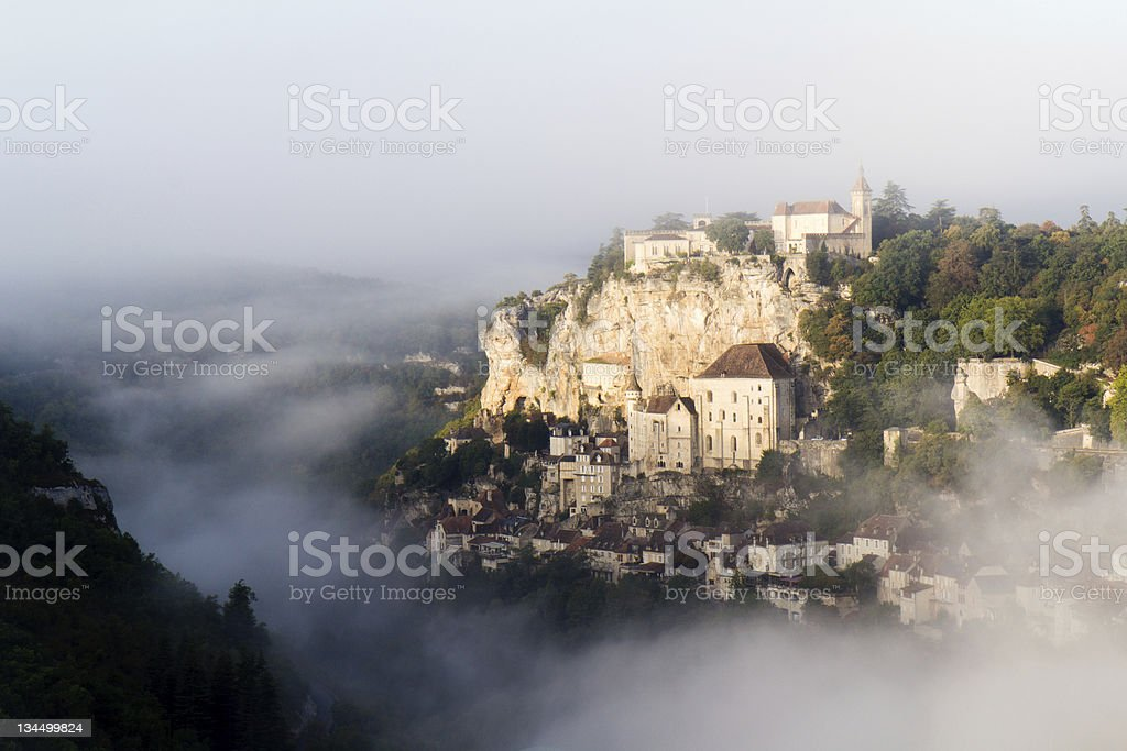 Rocamadour by a misty day. royalty-free stock photo