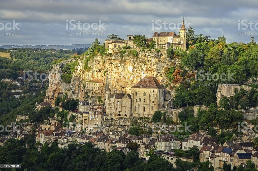 Rocamadour village wide landscape daylight view stock photo