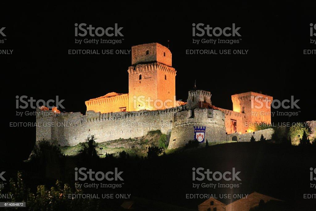 Rocca Maggiore at Night, Assisi, Umbria, Italy. stock photo
