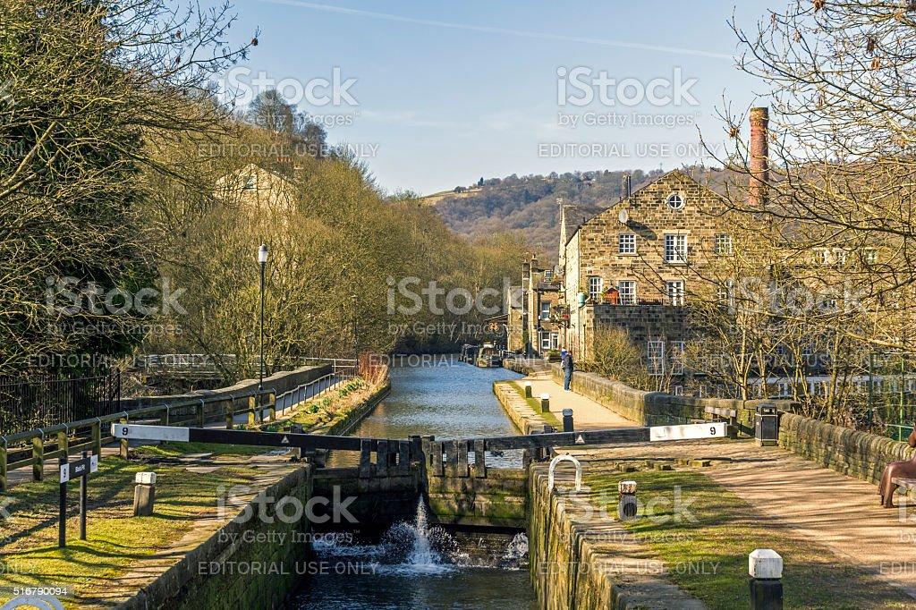 Rochdale Canal, Hebden Bridge stock photo
