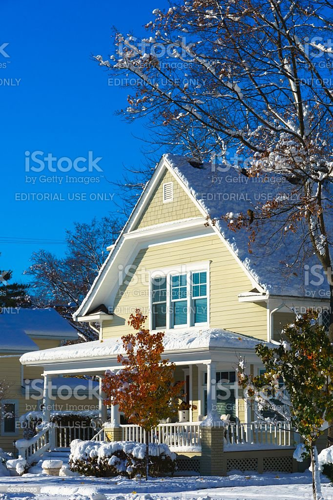 Rochester Michigan Winter Snowfall in 2015 stock photo