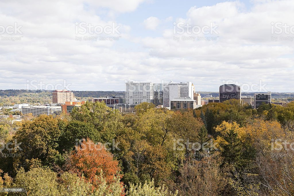 Rochester Minnesota Autumn Downtown, Aerial View from Water Tower stock photo
