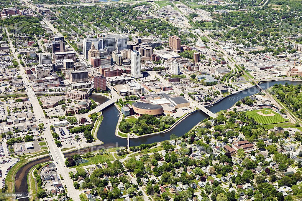 Rochester Minnesota Downtown Aerial stock photo