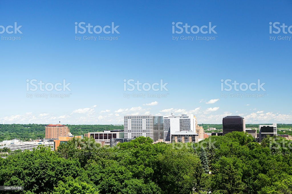 Rochester Minnesota Downtown Aerial with Mayo Clinic Buildings stock photo