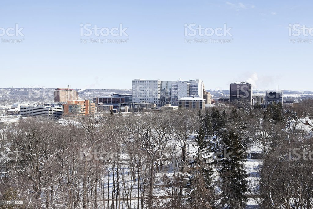 Rochester Minnesota Downtown, Winter Aerial View stock photo