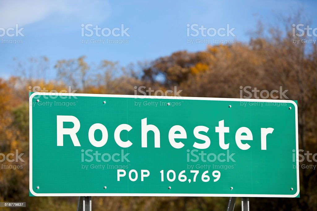 Rochester Minnesota Highway Sign with City Population stock photo