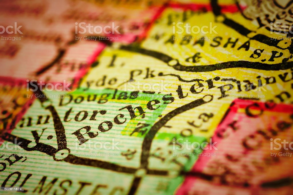 Rochester, Minnesota on an Antique map stock photo