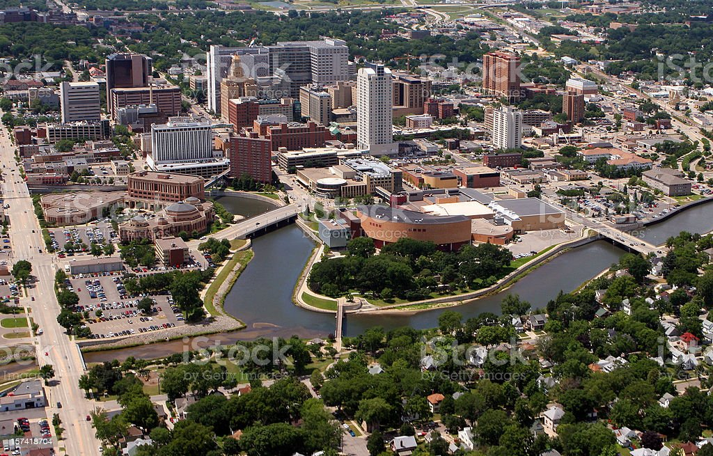 Rochester, MN - Aerial City View stock photo