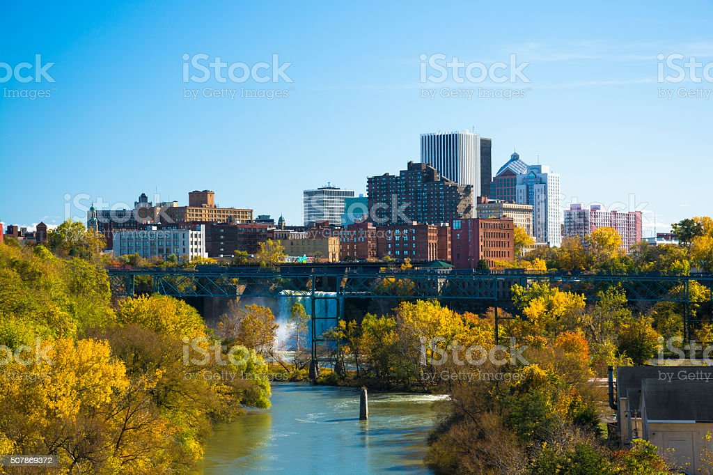 Rochester skyline and waterfall view stock photo