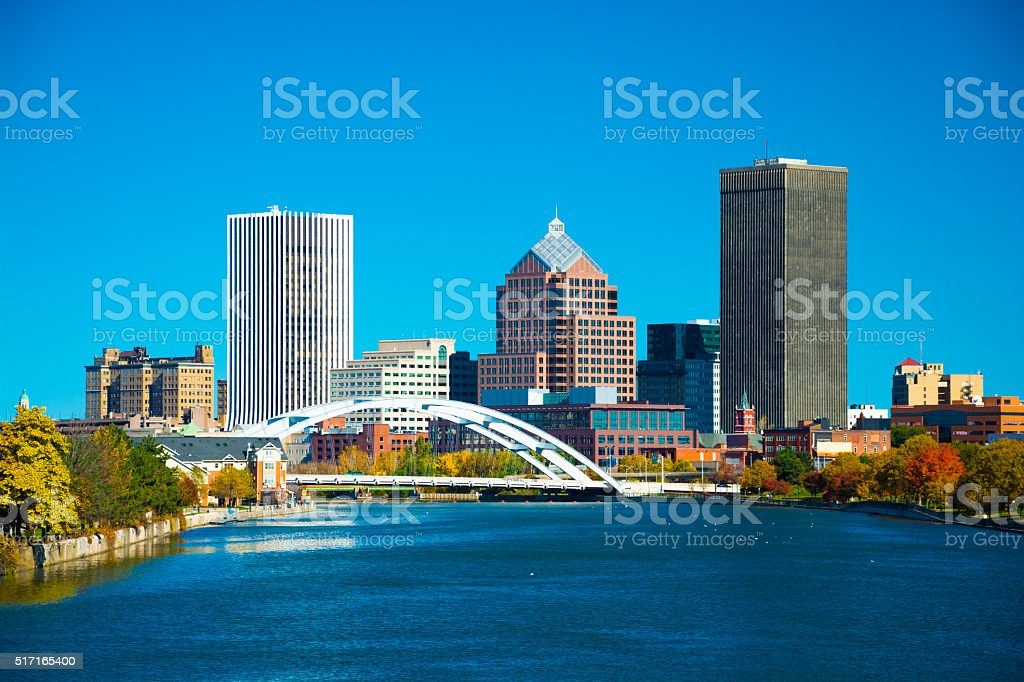 Rochester skyline with bridge and river stock photo