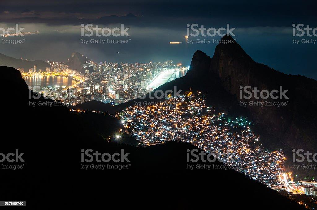 Rocinha Slum and Leblon and Ipanema at Night stock photo