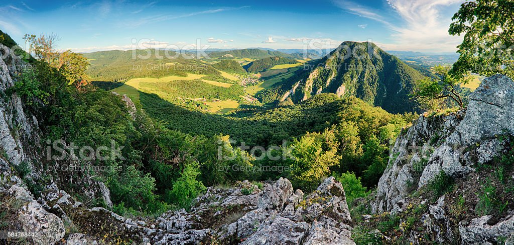 Rock and forest at spring in Slovakia stock photo