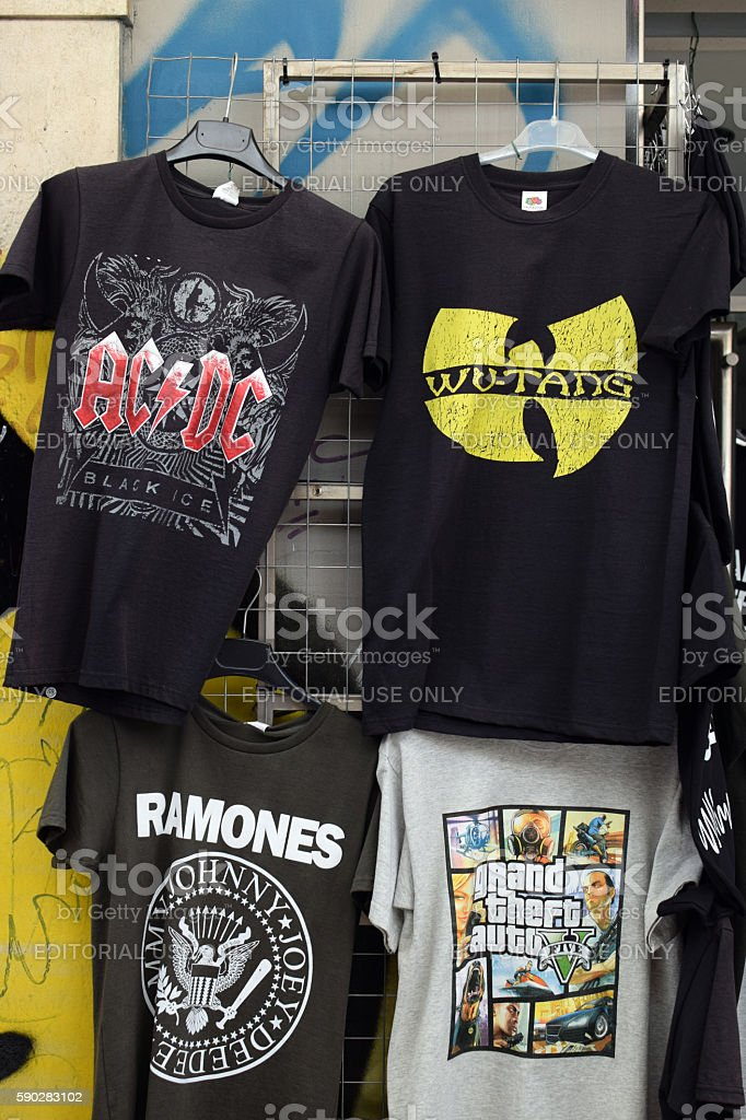 rock and hip hop music t-shirts stock photo