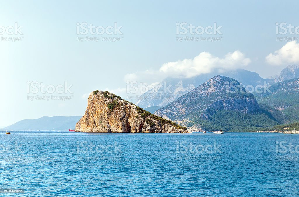 Rock and Mediterranean sea stock photo