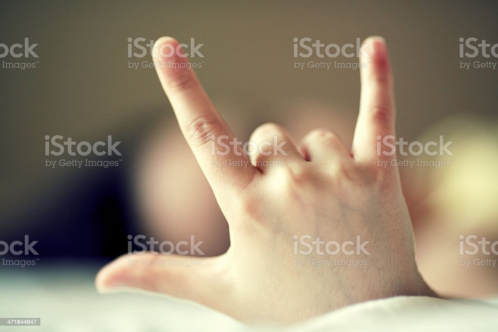 Rock and Roll Hand gesture stock photo