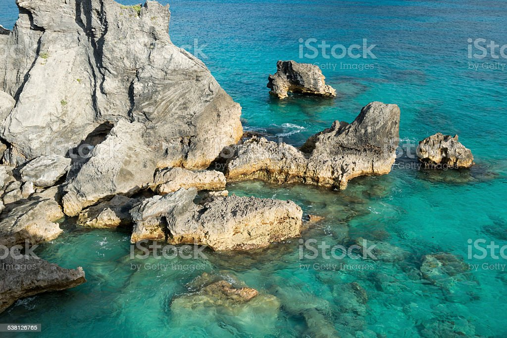 Rock and sea on Bermuda stock photo