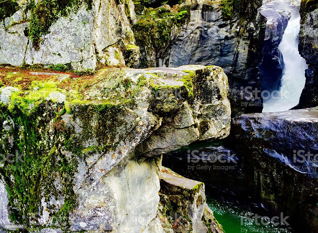 Rock and waterfall background royalty-free stock photo