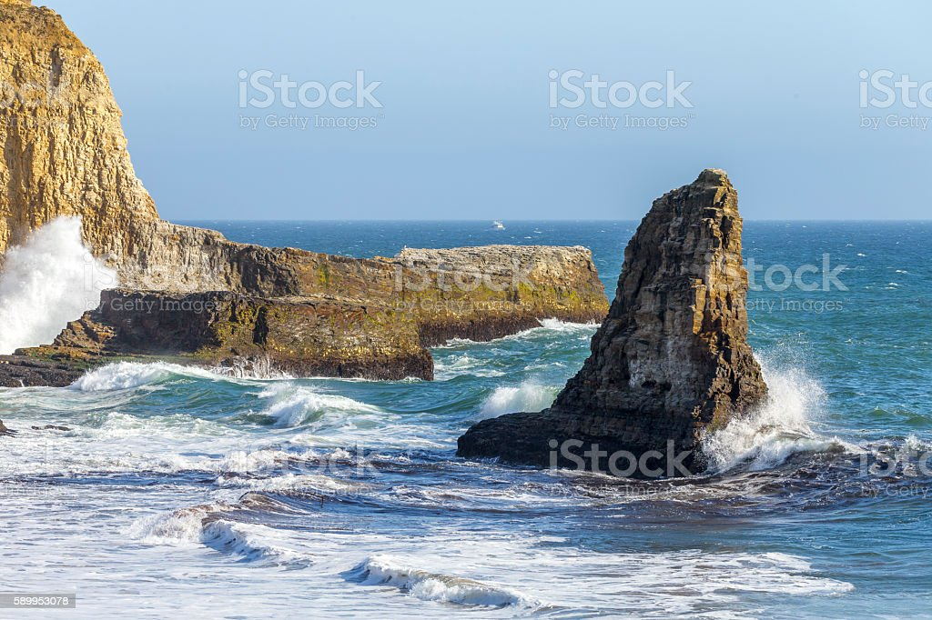 Rock and Wave near San Francisco stock photo