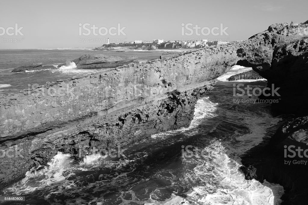 Rock Arch and Lighthouse, Biarritz stock photo