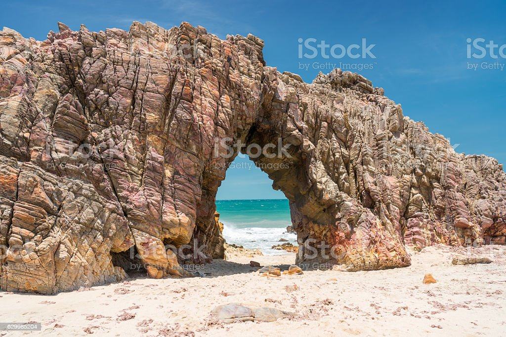 Rock Arch, Pedra Furada, Jericoacoara, Brasil stock photo