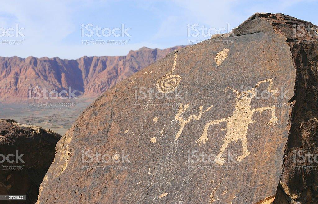 Rock Art of Anasazi Canyon stock photo