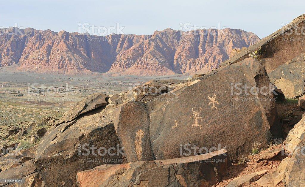 Rock Art of Anasazi Canyon royalty-free stock photo