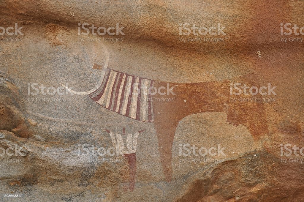Rock art of Laas Geel, Somaliland stock photo