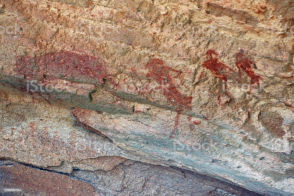 Rock Art, Twyfelfontein, Namibia stock photo