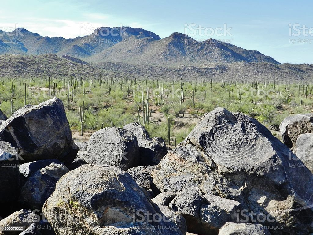Rock art-petroglyphs in Tucson mountains stock photo