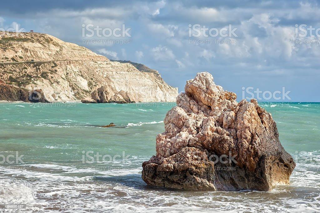 Rock at beach Petra tou Romiou stock photo