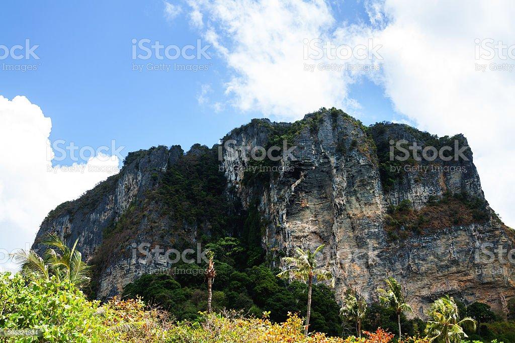 Rock at coast and beach of Ao Nang stock photo