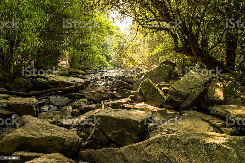 Rock at the dry waterfall in summer stock photo