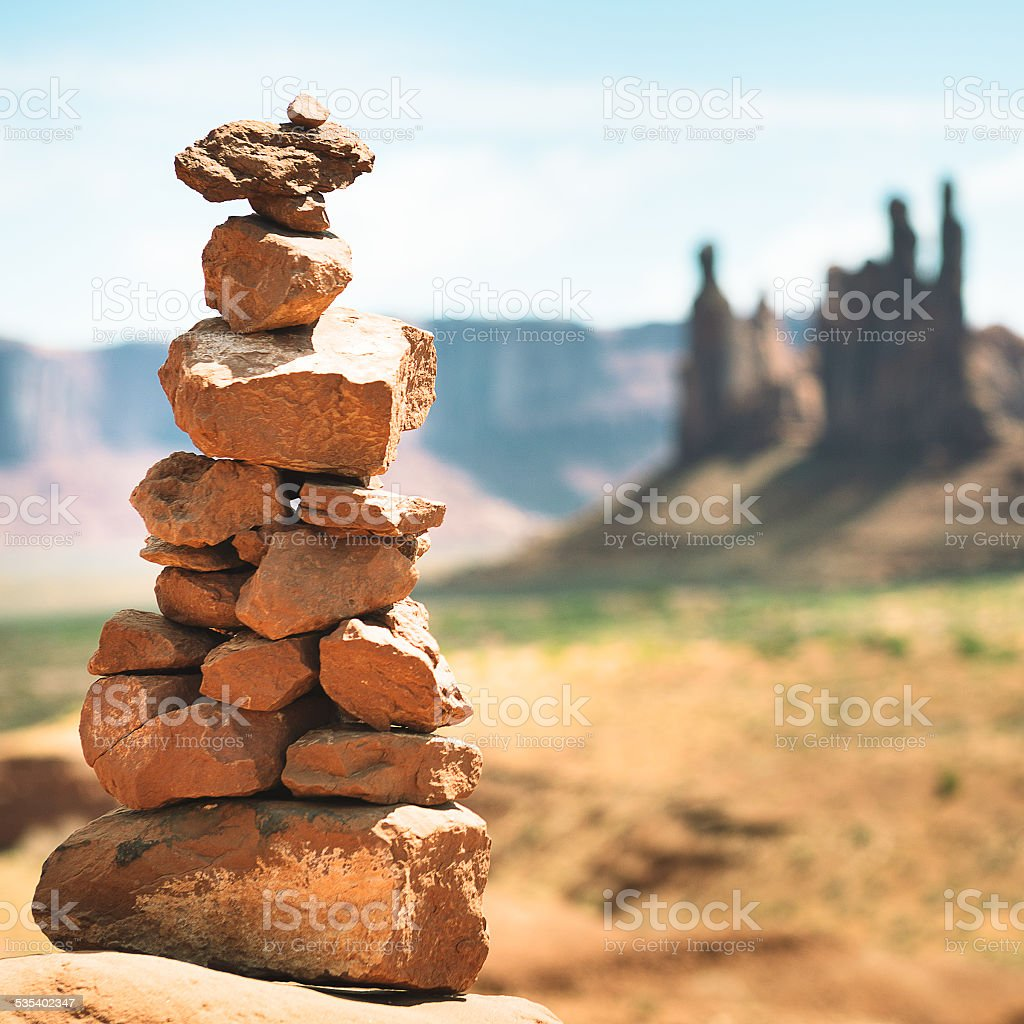 Rock balance on Monument Valley stock photo