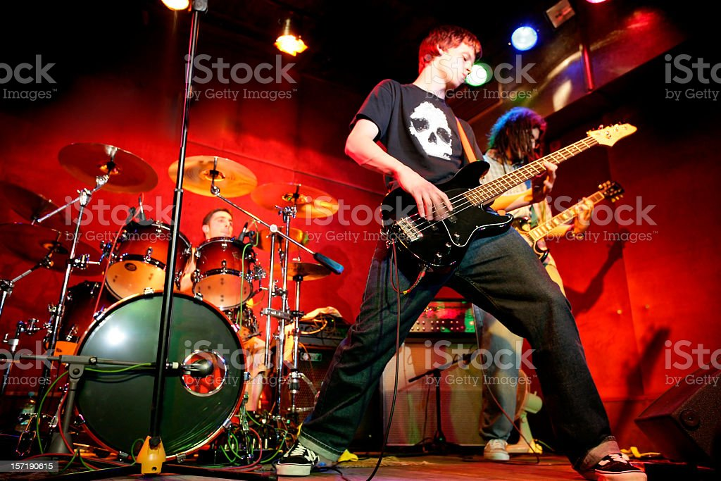 Rock band in action stock photo