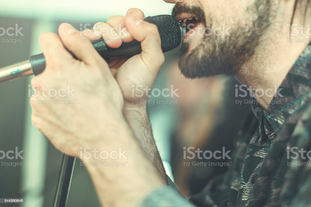 Rock band in action: the singer stock photo