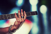 Rock bassist vintage style photograph