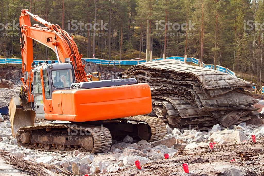 Rock blasting site closeup royalty-free stock photo