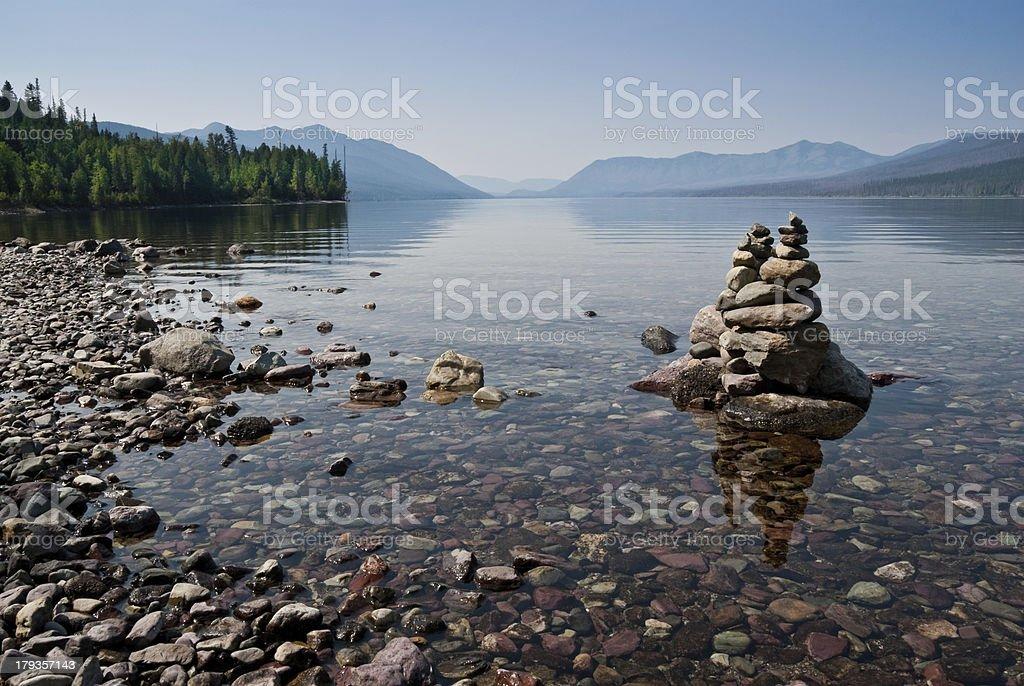 Rock Cairn at Lake McDonald royalty-free stock photo
